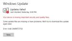 updates failed